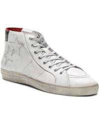 The Kooples Distressed Leather High - Top Trainers - White
