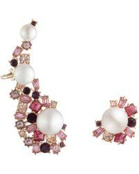 Carolee Cultured Freshwater Pearl Ear Crawler & Stud Earring Set - Pink