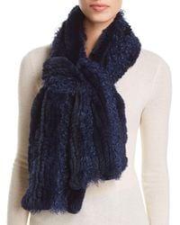 Maximilian Knit Rabbit Fur Scarf With Kalgan Lamb Shearling Insets - Blue