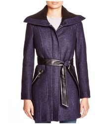Via Spiga - Boiled Boucle Belted Coat With Rib-knit Collar - Lyst