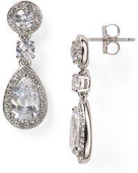 Nadri Framed Drop Earrings - Metallic