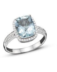 Bloomingdale's Aquamarine And Diamond Ring In 14k White Gold - Multicolor