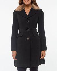 Kate Spade Faux Fur Collar Coat - Black