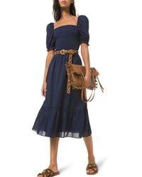 MICHAEL Michael Kors Smocked Cotton Lawn Puff Sleeve Dress - Blue