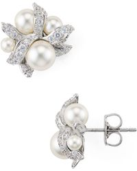 Nadri - Willow Faux-pearl Stud Earrings - Lyst