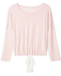 Eberjey Sadie Stripes Slouch Sleep Top - Pink