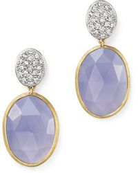Marco Bicego - 18k Yellow Gold Siviglia Resort Drop Earrings With Chalcedony And Diamonds - Lyst