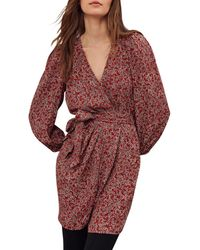 Ba&sh Camille Printed Wrap Dress - Red