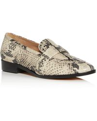 Schutz Women's Romina Snake - Embossed Apron - Toe Loafers - Natural