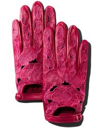 Portolano Embroidered Leather Driver Gloves - Pink