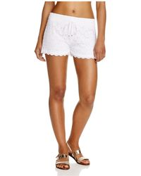 J Valdi Drawstring Dot Lace Shorts Swim Cover-up - White