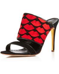 Rupert Sanderson Sweetheart High Heel Slide Sandals - Black