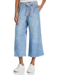 Bella Dahl Chambray Cropped Wide - Leg Pants - Blue
