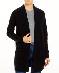 C By Bloomingdale's Cashmere Open Front Cardigan With Pockets - Black