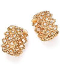 Roberto Coin - 18k Yellow Gold New Barocco Diamond Earrings - Lyst