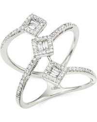 Bloomingdale's Diamond Round And Baguette Statement Ring In 14k White Gold - Metallic