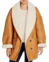 FRAME Shearling Cocoon Coat - Multicolor