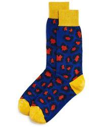 Bloomingdale's Colour - Block Leopard Socks - Blue