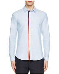Carven Oxford Stripe Placket Slim Fit Button Down Shirt - Blue