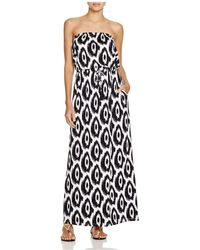 Macbeth Collection - Strapless Printed Maxi Dress Swim Cover Up - Lyst