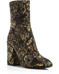 Ash - Flora Embroidered Block Heel Booties - Lyst