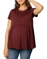 Ingrid & Isabel Maternity Relaxed Babydoll Top - Red