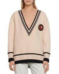 Sandro Palm Varsity - Style Sweater - Natural