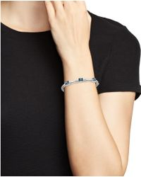 Judith Ripka - Sterling Silver Triple Stone Bangle Bracelet With White Sapphire And London Blue Spinel - Lyst