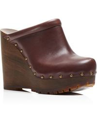 See By Chloé Clive Studded Platform Wedge Clogs - Brown
