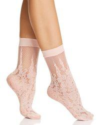 Natori Floral Burnout Fishnet Socks - Pink