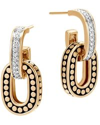 John Hardy | 18k Yellow Gold Dot Diamond Small Drop Earrings | Lyst
