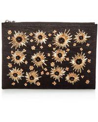 Max Mara - Floral Embellished Raffia Large Zip Clutch - Lyst