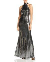 Aqua Sequin Halter Neck Gown - Metallic