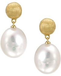 "Marco Bicego ""africa Pearl Collection"" 18k Yellow Gold And Pearl Drop Earrings - White"