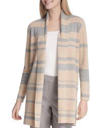 Calvin Klein - Striped Open Front Cardigan - Lyst