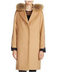 Maje Gasby Real Fur Trim Camel Coat - Natural