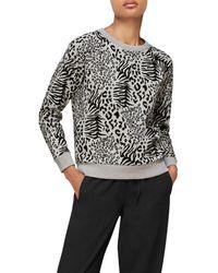 Whistles Animal Print Sweatshirt - Gray