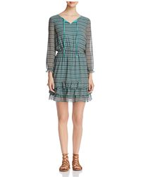 Finity - Geometric Print Ruffled Dress - Lyst