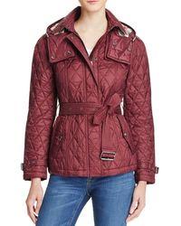 Burberry Short Finsbridge Quilted Coat - Bloomingdale's Exclusive - Red