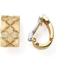 Roberto Coin - 18k White & Yellow Gold Venetian Princess Diamond Earrings - Lyst