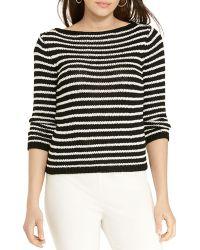 Ralph Lauren Lauren Striped Boat Neck Sweater - White