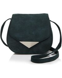 Facine - Mini Lock Suede Saddle Bag - Lyst