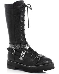 Moschino Lu Logo Buckle Lace Up Boots - Black