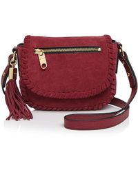 MILLY - Small Astor Suede Whipstitch Saddle Bag - Lyst