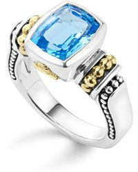 Lagos 18k Gold And Sterling Silver Caviar Color Medium Ring With Swiss Blue Topaz