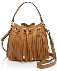 MILLY - Essex Fringe Drawstring Small Leather Crossbody - Lyst