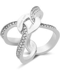 Michael Kors - Pavé Link Logo Ring - Lyst