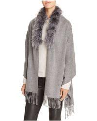 Surell - Shawl With Fox Fur Trim - Lyst