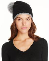 Magaschoni Color-block Fur Pompom Cashmere Hat - Black