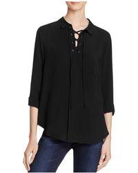 Aqua Bridgette Lace-up Shirt - Black